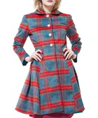 Red & teal wool blend check coat